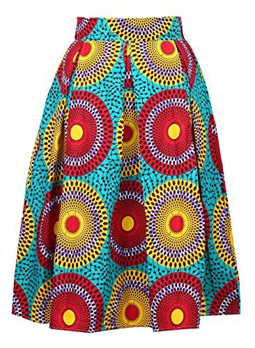 (Aikaplus Womens African Print Skirt Flared Skirt Multisize A Line Skirt (M, D) )