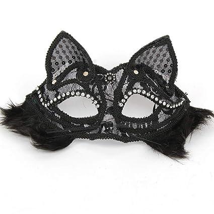 shan Suministros De Halloween Media Cara Cometa MáScara De Animal DoméStico MáScara De Zorro Negro MáScara