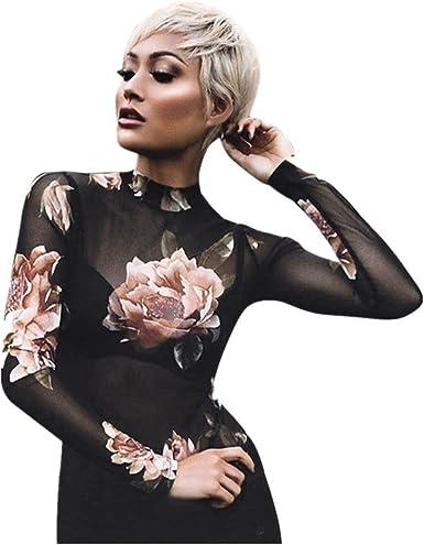 Blusa de Malla Floral Camisa QinMM Camiseta Delgada Transparente Mujer
