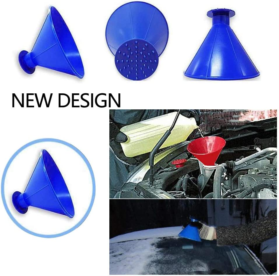 Cone Deicing Tool Car Window Glass Cleaning Tool Black+Red+Blue Snow Removal Tool ,Windshield Snow Remover Ice Scraper for Car 3 Pack