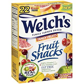 Welch's Fruit Snacks, Tangy Fruits 22 Pouch Value Pack (2 Boxes) 44 Pouches Total, 19.8 Ounce