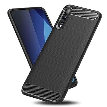 TopACE Funda para Samsung Galaxy A70,Funda Móvil de Fibra de Carbono Carcasa Móvil Cepillada de Silicona Suave Simple Ligera y Anti-caída Protector ...