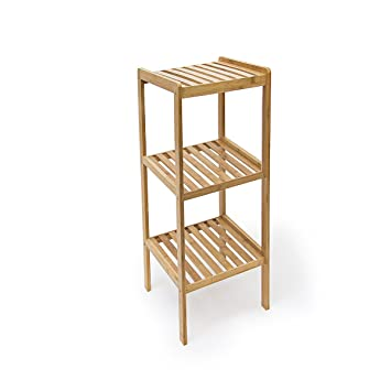 Holzregal Küche edles bambus regal mit 3 ablagen 79 x 33 x 33 cm badregal