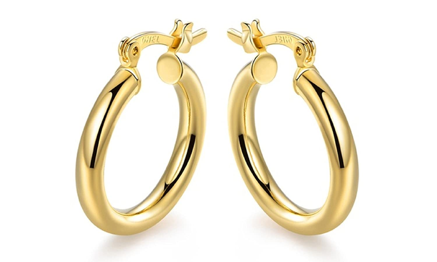 10K Solid Gold Round Hoop Earrings -3 MM Thickness - French Lock Closure