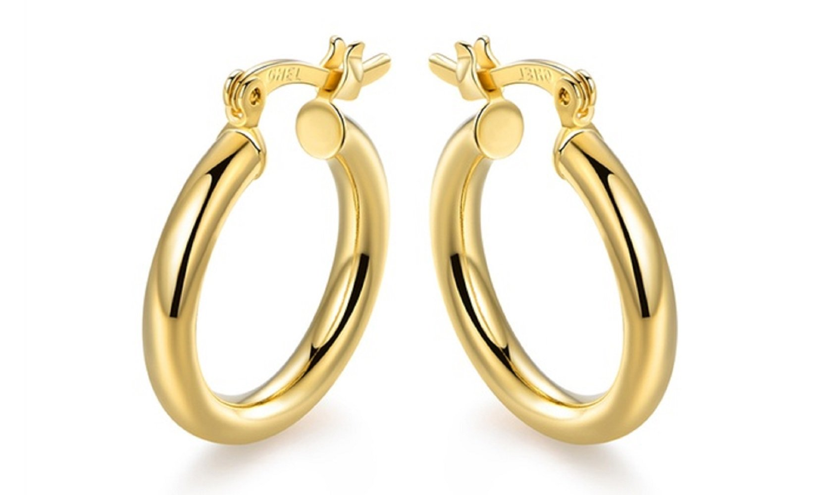 10K Solid Gold 3X20MM thick Round Hoop Earrings- French Lock Closure