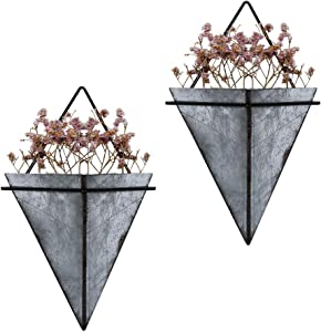 Scwhousi Galvanized Metal Geometric Wall Planter Hanging Succulent Planters Indoor Room Office Wall Decor,2 Set