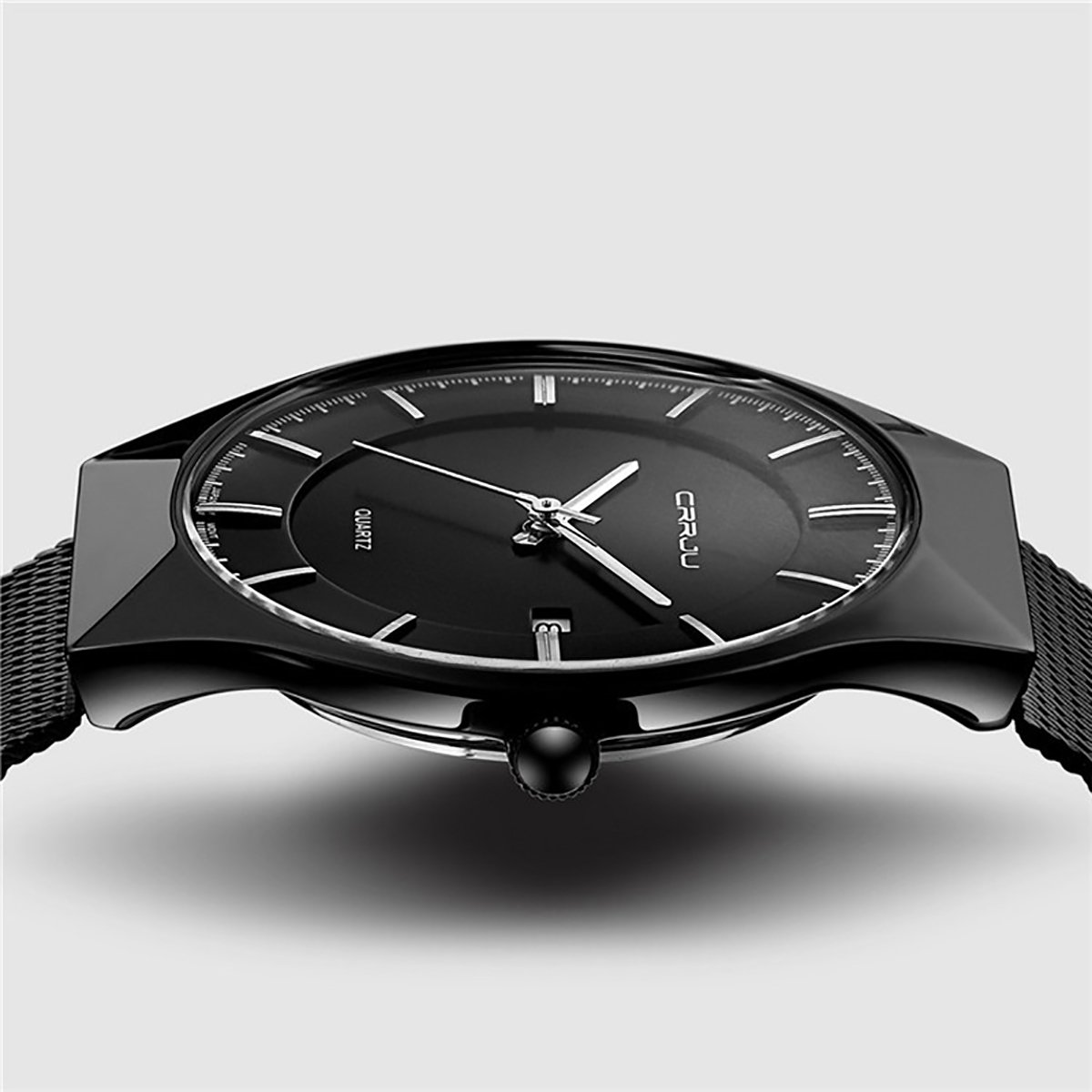 MODIWEN Ultra-Thin Business Men Quartz Watch with Alloy Mesh Band Date Display Wristwatches