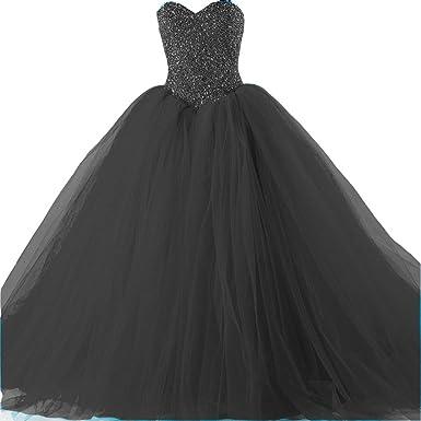 55e182c51d8e Kivary Formal Tulle Heavy Beaded Ball Gown Long Prom Dresses Quinceanera  Black US 2