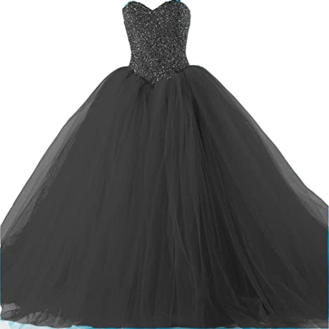 9fa3c7eab4 Amazon.com  Kivary Formal Tulle Heavy Beaded Ball Gown Long Prom Dresses  Quinceanera  Clothing