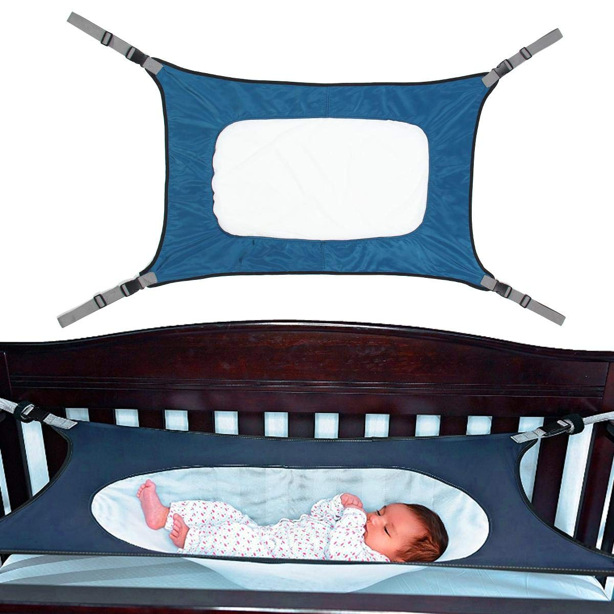 Crib Hammock, Aolvo Baby Hammock for Crib Heavy Duty Elastic Newborn Nursery Hammock Bed Comfortable Universal Sleeping Hammock with Adjustable Straps for Infant Bassinet Wombs, 0-12 Months (Blue)