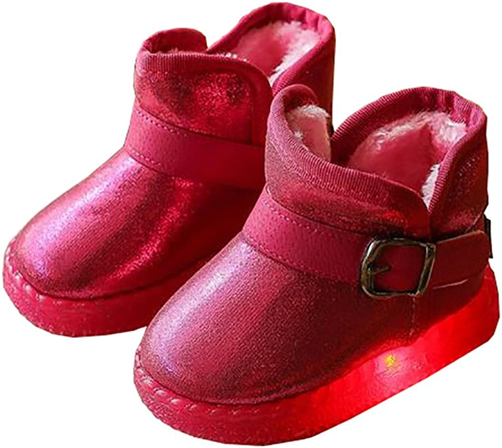 BININBOX Kids Led Light Up Shoes Warm Cotton Snow Boots for Girls Boys