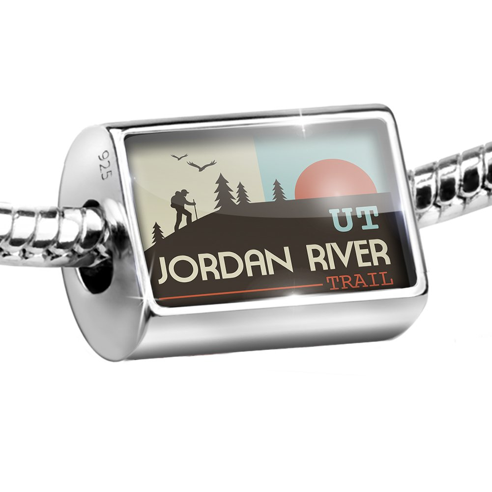Sterling Silver Bead US Hiking Trails Jordan River Trail - Utah Charm Fits All European Bracelets