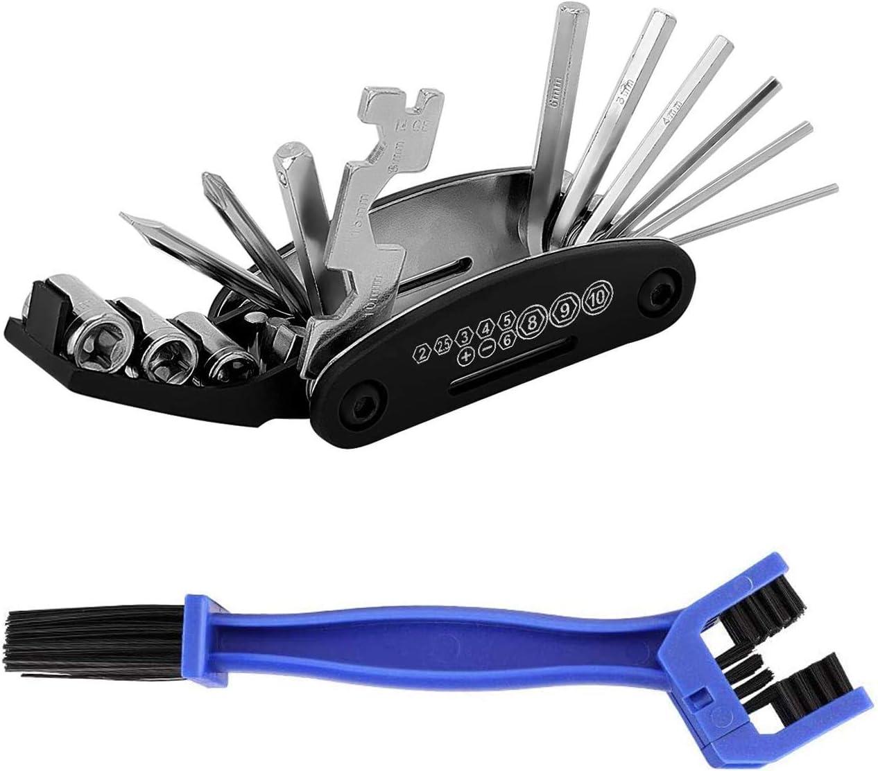 Outil Multifonction velo 16 en 1 pour VTT outils multi-usage//tournevis /à t/ête hexagonale Cl/é /à lint/érieur et /à lext/érieur//Combinaison /équipement d Tournevis Poche avec Brosse /à Cha/îne