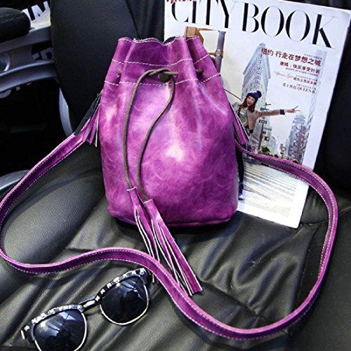 Drawstring Messenger Bag Purple Shoulder Bag Handbag Leather Bucket Voberry Womens Cx0wFqS5C