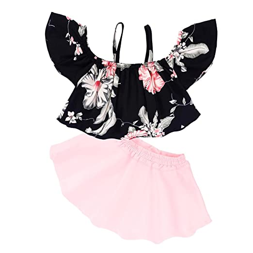 69327ffe05 Amazon.com: LNGRY Kids Baby Girls Strap Off Shoulder Tops Floral ...