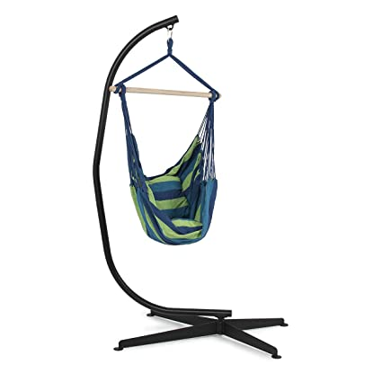 Belleze C Frame Stand Indoor Outdoor Solid Steel With Hammock Air Porch  Swing Hanging Chair +