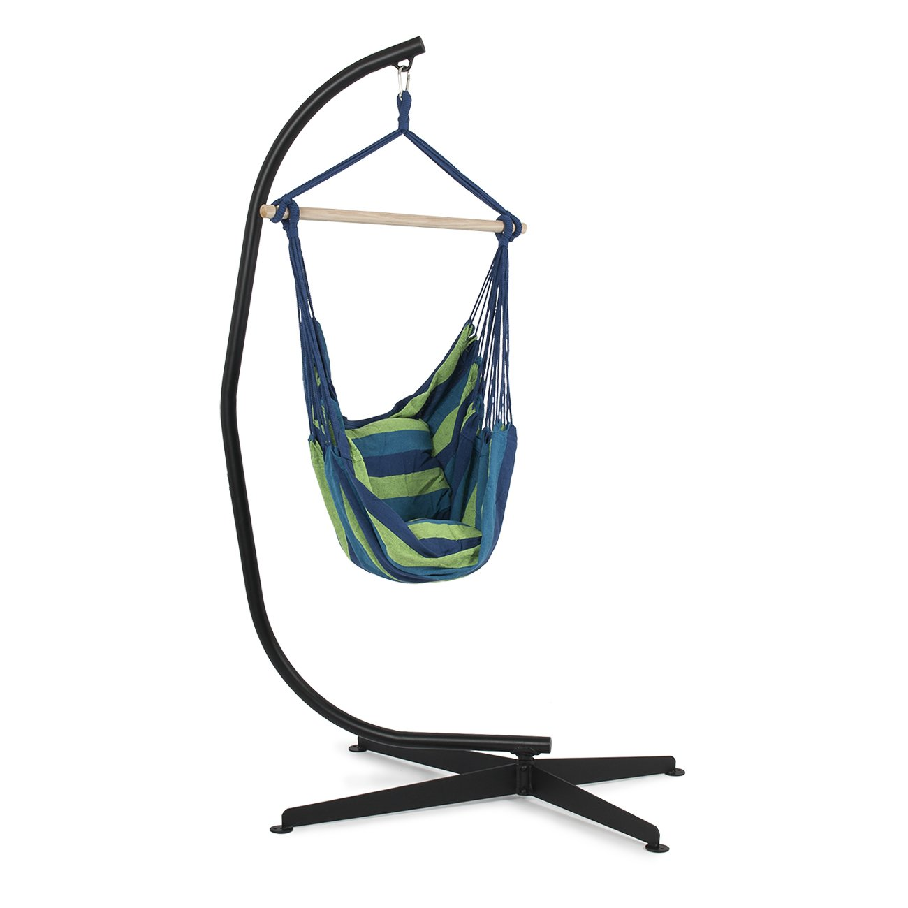 Belleze C Frame Stand Indoor Outdoor Solid Steel with Hammock Air Porch Swing Hanging Chair + Pillow