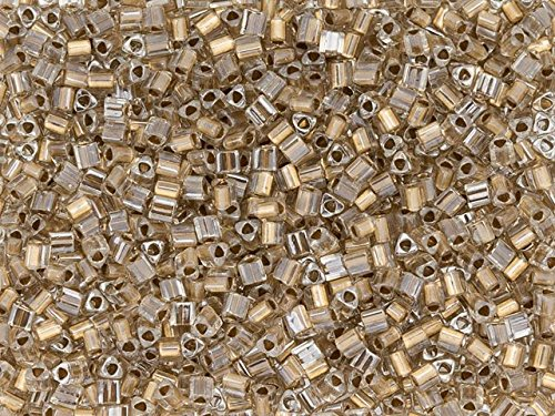 TOHO 11/0 Triangle Seed Bead 24K Gold-Lined Crystal, 2.5-Inch Tube