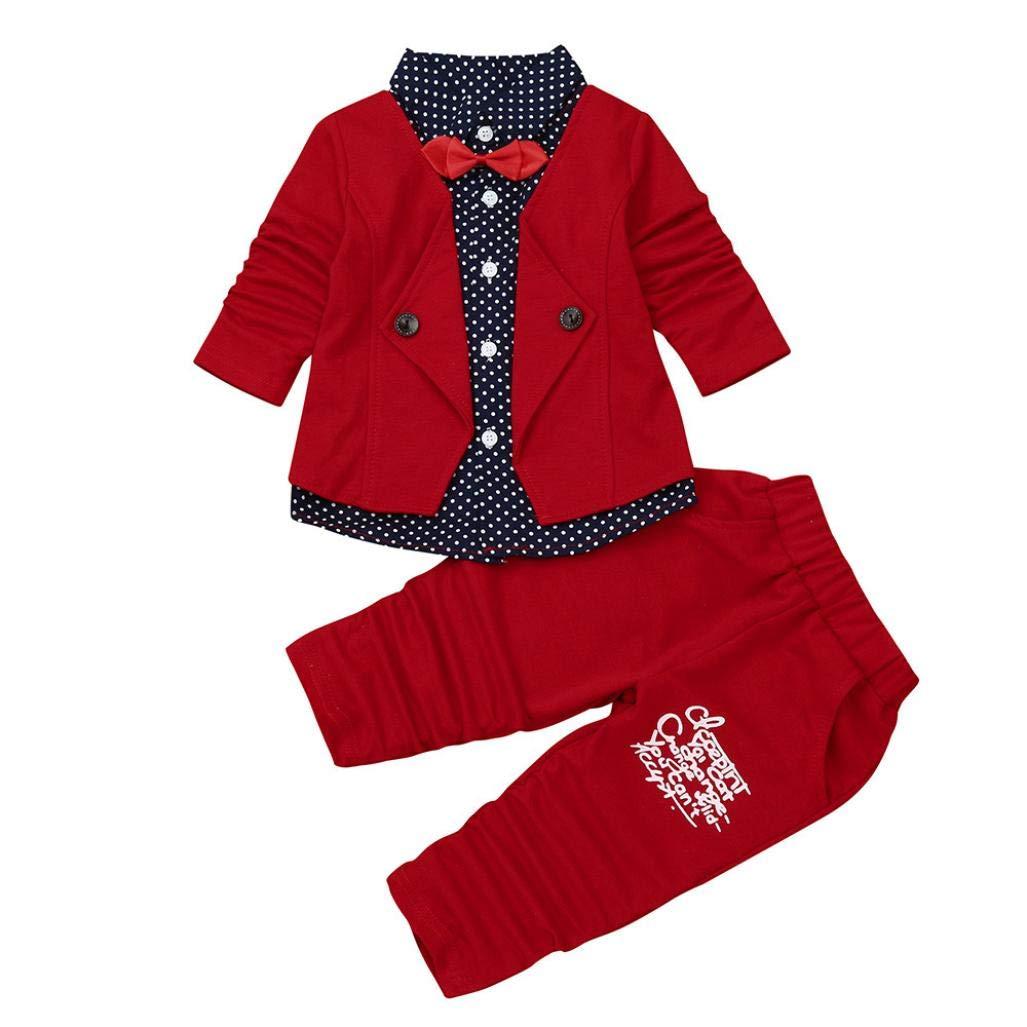 Kid Baby Boy Gentleman Suit Set, Patch Turn-down Collar Polka Dot Bow Tie Waistcoat Party Wedding Tuxedo (Red, 4T)