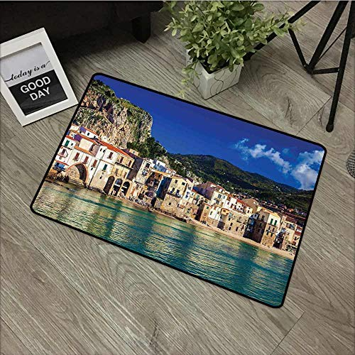 Fakgod Print Bath Mat Wanderlust Decor Cozy Old Houses in The Port of Cefalu Sicily Mediterranean Seaside Mountain Seascape Super Absorbs Mud 24
