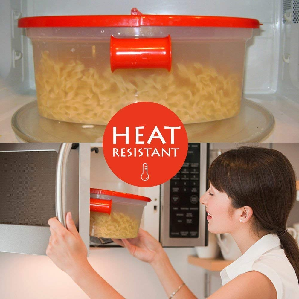 Hot Pasta Boat   Versatile Microwave Pasta Cooker Vegetable Steamer Boat Strainer with Recipe Book   Sturdy Food Grade Heat Resistant PP Material   Effortless Usage Anti Mess No Stick Colander   Massive Capacity Up To 5 Pound   Vibrant Red by Hot Pasta Boat (Image #4)