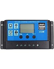 SODIAL 10A 12V 24V Travail automatique PWM Controleur de charge solaire avec LCD Double USB Sortie 5 V Panneau de cellules solaires Regulateur de charge