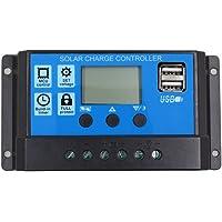 SODIAL 10A 12V 24V Auto work PWM Controlador de carga solar con LCD Dual USB Salida de 5V Panel de celula solar Cargador Regulato