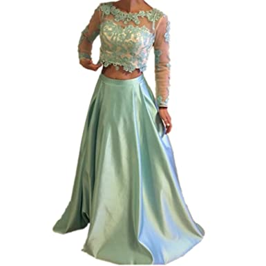 Formaldresses Elegant Mint Green Two Pieces Prom Dress Long Sleeve Evening Party Formal Dress (US