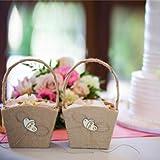 GuiHe 2PCS Burlap Double Heart Wedding Flower