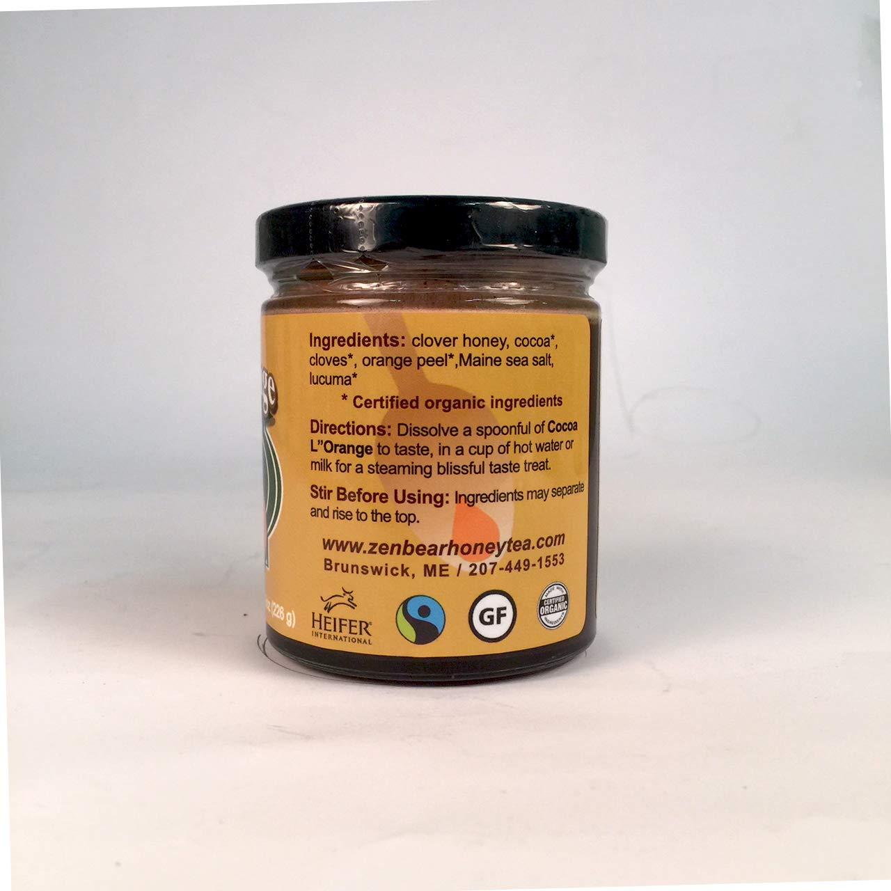 Amazon.com : Zen Bear | Honey Cocoa L Orange | Premium Clover Honey Sweetened Organic Chocolate Cocoa With Natural Orange Flavor | Perfect For Hot Cocoa ...
