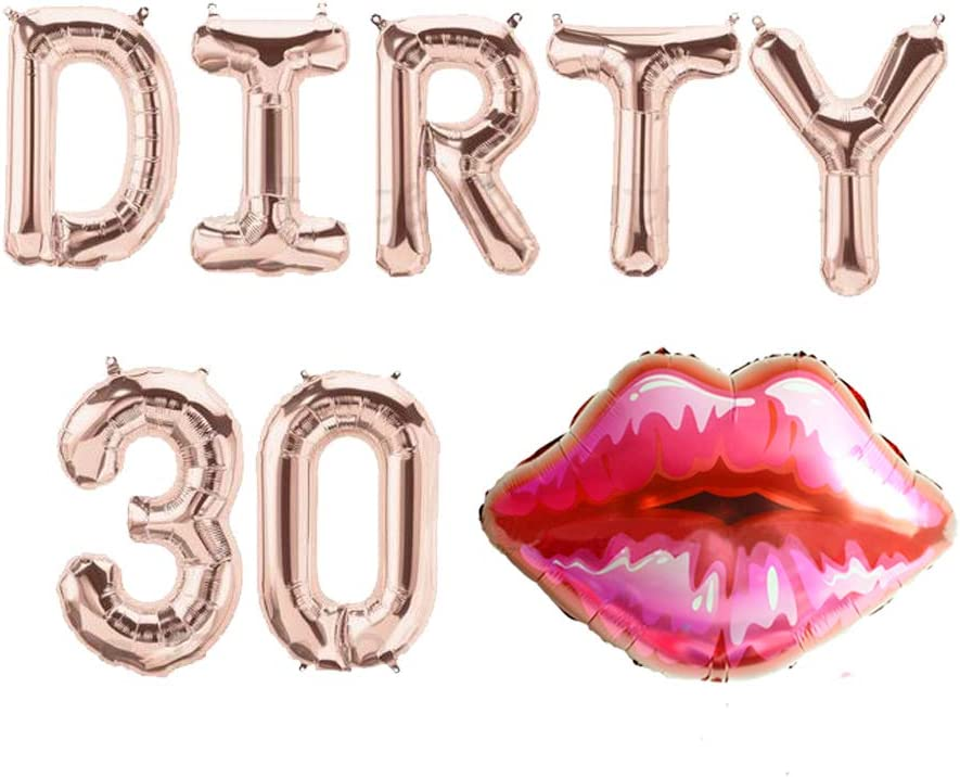 LaVenty DIRTY 30 Balloons Dirty 30 Letter Balloons 30 Balloons Red Lips Balloon Dirty 30 Banner 30th Birthday Decoration 30th Birthday Balloons