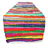 Cotton Reversible Chindi Rug/Table Runner - Multi Colored - Hand Woven