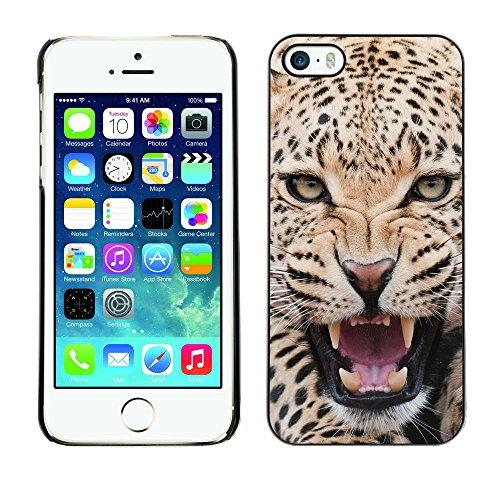 LASTONE PHONE CASE / Coque Housse Etui Shock-Absorption Bumper et Anti-Scratch Effacer Case Cover pour Apple Iphone 5 / 5S / Leopard Ferocious Animal Big Cat Roar