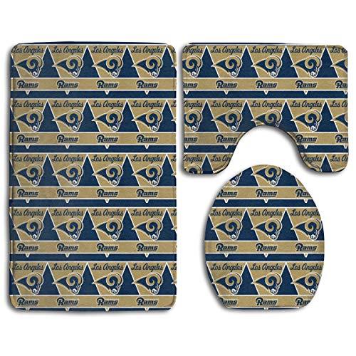 - Marrytiny Design Colorful Non Slip 3 Piece Doormat American Football Team Los Angeles Rams Anti-Skid Bathroom Rug Set Bath Mat + Contour Rug + Toilet Lid Cover