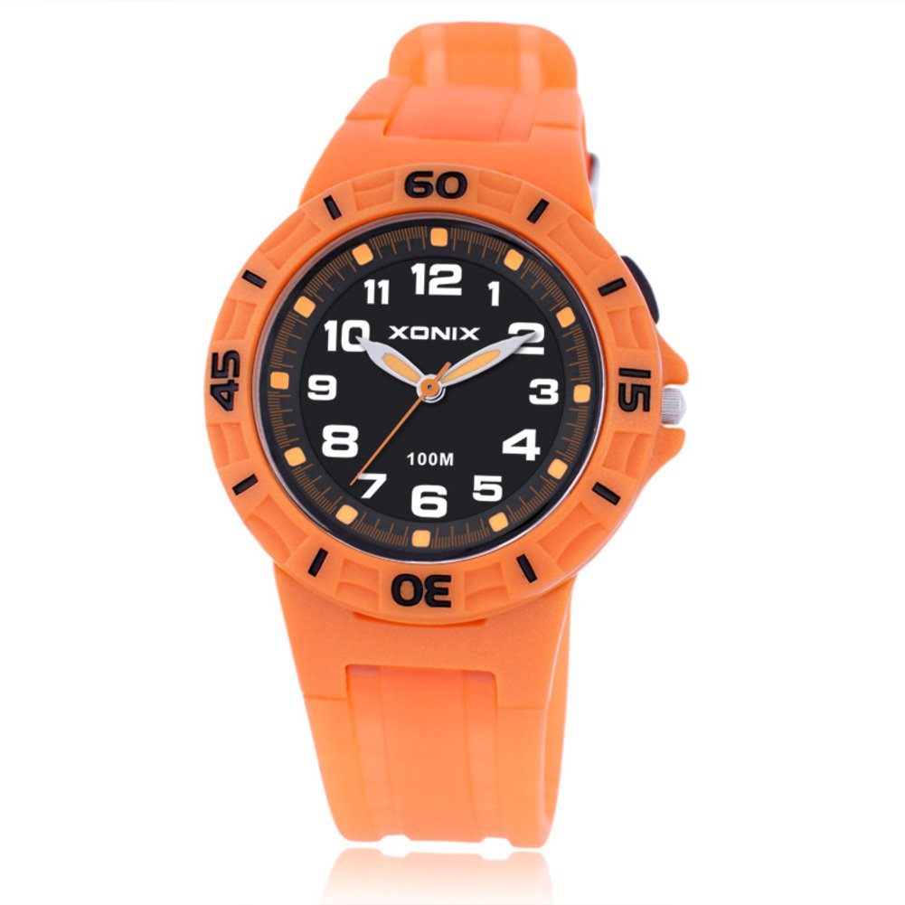 Boys girls multi-function quartz sports watch, 100 m waterproof led jelly resin strap outdoor fashion children wristwatch-B