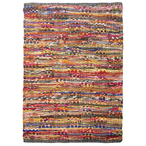 2x3' Cotton Rag Rug Multi Chindi Distressed Woven Small Area Rug Living Room & Home Décor