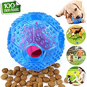 CHLEBEM Interactive Dog Toys, Dog Chew Toys Ball for Small Medium Dogs, IQ Treat Boredom Food Dispensing, Puzzle Puppy Pals Tough Durable Rubber Pet Ball, Best Cleans Teeth Dog Balls (Blue)