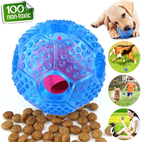 CHLEBEM Interactive Dog Toys, Dog Chew Toys Ball for Small Medium Dogs, IQ Treat Boredom Food Dispensing, Puzzle Puppy Pals Tough Durable Rubber Pet Ball, Best Cleans Teeth Dog Balls (Dog Ball Blue)