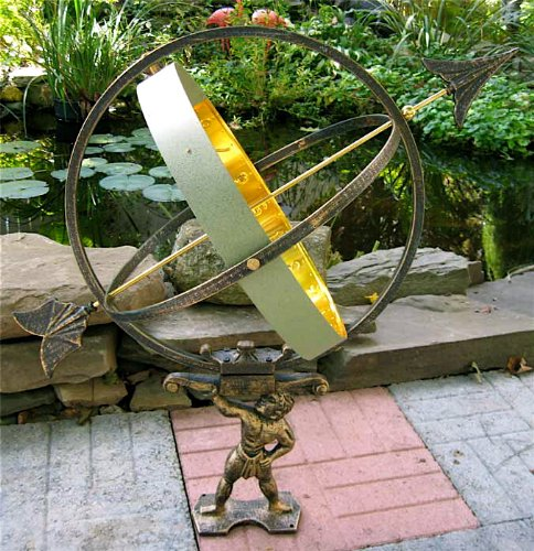 Large Solid Brass & Iron Hercules Sundial ~ Garden Decor by UD