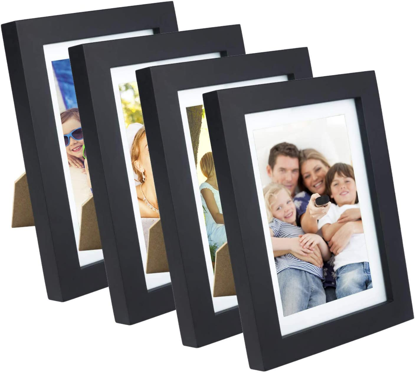 XUFLY 4Pcs 5x7 Real Glass Wood Frame Black, with Mat Fit 4x6 inch Family Photo, Desktop On Wall Vertical Horizontal Office Decoration London Red Bus Moon Eclipse Sea Sky Jetty (10 Set Pictures) (37)