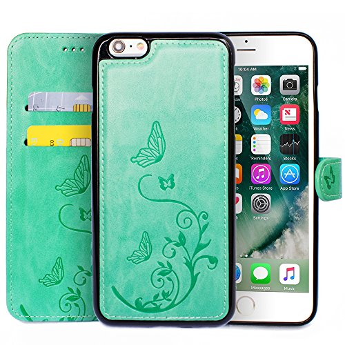 WaterFox Case for iPhone 6 Plus/6S Plus, Wallet Leather Case with 2 in 1 Detachable Cover, Womens Vintage Embossed Pattern with 2 Card Slots & Wrist Strap Case - Green