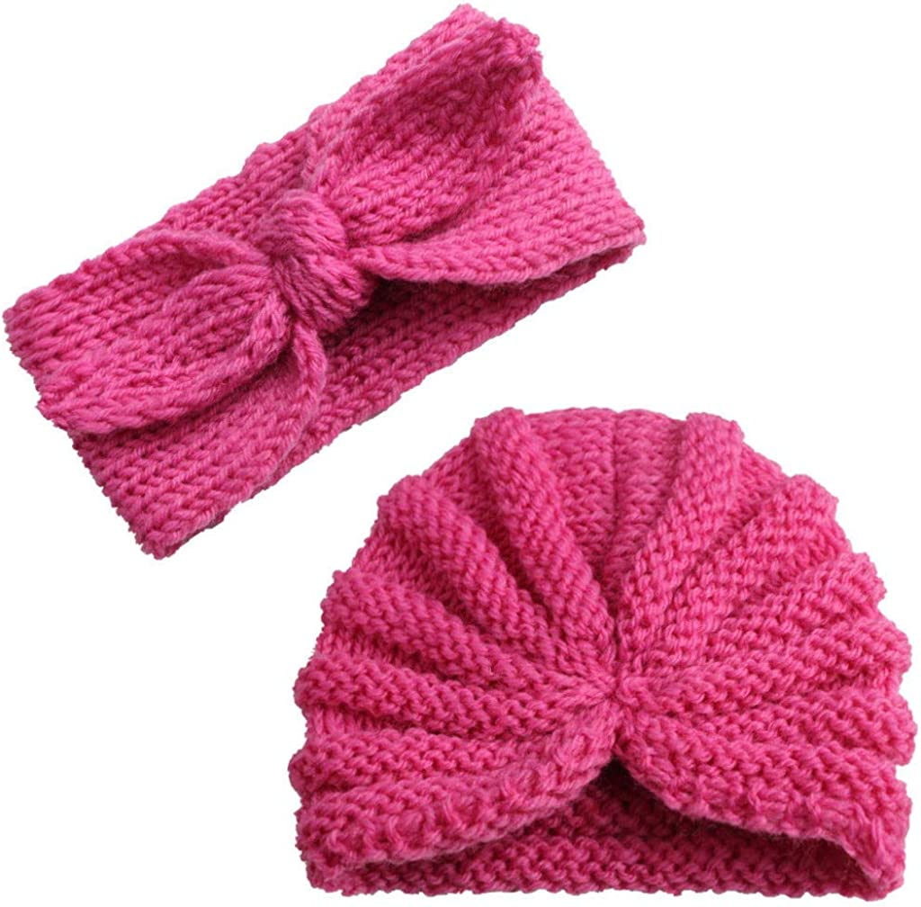 Amaone Baby Hats Headband Set Newborn Boys Girls 0-2 Years Old,Knitting Solid Color Infant Hats Bow Headband 2Pcs Beanie Cap Unisex Toddlers Hat Kit