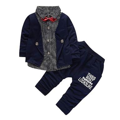 24e3467805d2f YASSON Ensembles de Vêtement Bébé Garçon Fleece Blouse Chemise Pantalon  Tenues Chaud Automne Hiver Bleu Marine