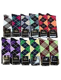 Falari® 12 Pairs Argyle Men Dress Socks Size 10-13 Fit Shoes Size 6-12
