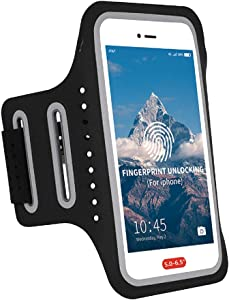 Waterproof Armband for Running iPhone Armband Men Running Women Workout Sports Fitness,Armband Phone Holder for iPhone 11 Pro Max Xs Xr X 8 7 6 Plus with Fingerprint Touch ID&Key Pouch,Black Arm Band