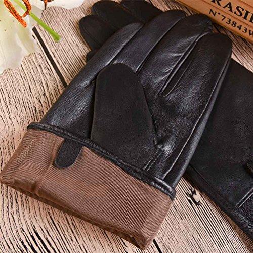 YISEVEN Gants de femme en cuir avec la doublure pour hiver, cuir de mouton d'origine italiene