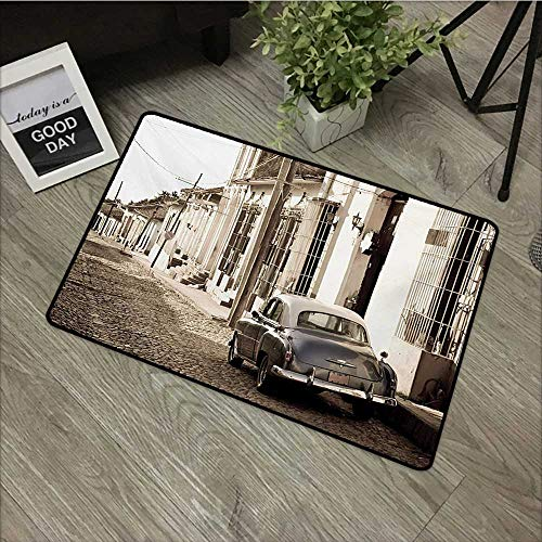 HRoomDecor Vintage Car,Entrance Door Mat an Old American Car in The Colonial Streets of Trinidad in Cuba Historical Picture W 20