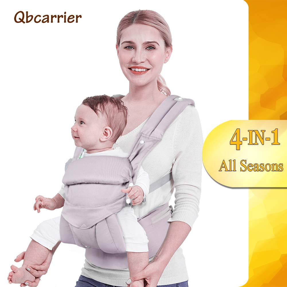 Baby Carrier-Front and Back for Newborn-4 in 1 Infant Carrier, Toddler Carrier with Hood, Grey