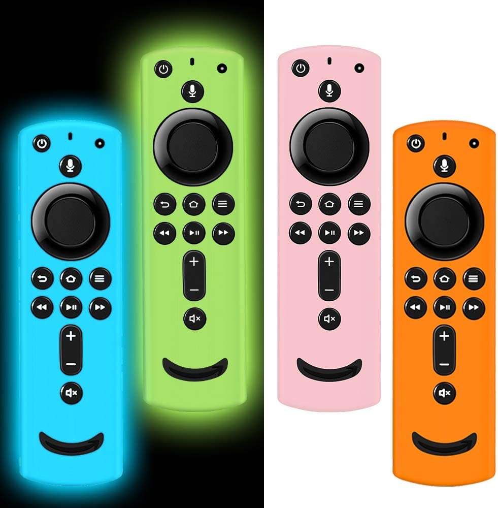 4 Pack Remote Cover for Fire TV Stick 4K, Silicone Remote case Compatible with Fire TV Cube/Fire TV(3rd Gen)/All-New 2nd Gen Alexa Voice Remote Control, Lightweight Anti-Slip Shockproof
