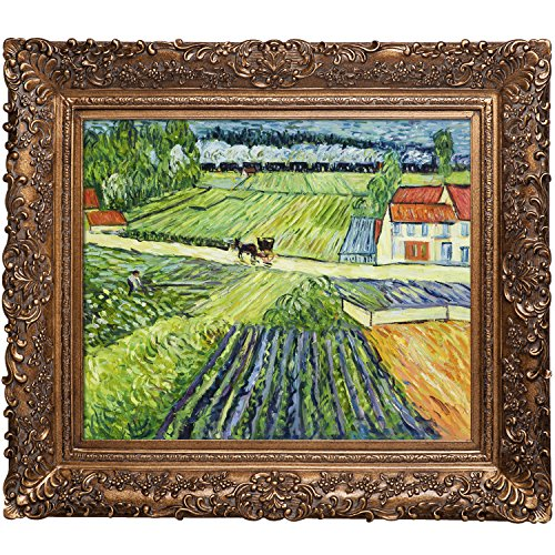 - La Pastiche OverstockArt Landscape with Carriage and Train by Vincent Van Gogh Hand Painted Oil on Canvas with Burgeon Gold Frame, 33.5